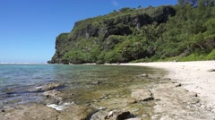 Rurutu island coastal landscape beach and cliff Stock Footage
