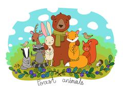 Cute animals of the forest Stock Illustration