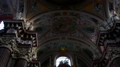 Tilt down of the interior of the beautiful Catholic church of Fara Poznanska Stock Footage