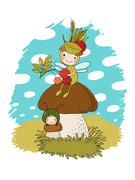 Little cartoon fairy sitting on a mushroom Stock Illustration