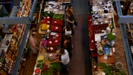 Aerial customers shopping grocery organic vegetable fruits from local producers Stock Footage
