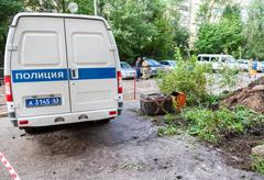 Russian police vehicle and explosion localizer Fountain Stock Photos