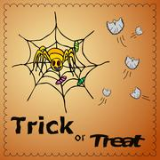 Trick or treat illustration with spiderman and ghosts Stock Illustration