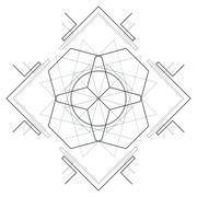 Vector contour monochrome design mandala sacred geometry illustration hexagon Stock Illustration