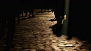 Silhouette unrecognizable crowd of people walking in the street with sunlight Stock Footage