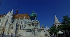 Budapest, Hungary. Circa September 2016. Roman Catholic Matthias Church and king Stock Footage