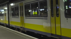 A passing subway train close up Stock Footage
