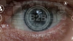 Business button B2B network Information security interface eyes imprint Stock Footage