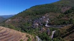 Classic Portuguese Historic Village Piodao Piodão aerial shot 4k Stock Footage