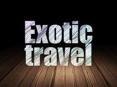 Tourism concept: Exotic Travel in grunge dark room Stock Illustration