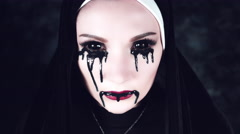 4k Halloween Shot of a Horror Nun With Black Liquid from Eyes Stock Footage