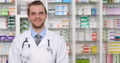 Pharmacy Presentation Smiling Pharmacist Man Greeting Welcome Salutation Gesture Stock Footage