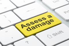 Insurance concept: Assess A Damage on computer keyboard background Stock Illustration