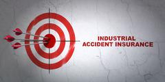 Insurance concept: target and Industrial Accident Insurance on wall background Stock Illustration