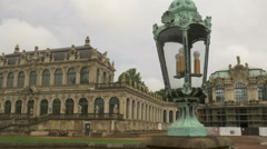 Lamp and fountain in Zwinger Palace Stock Footage