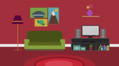 Cartoon Modern colorful Living room Animation with space for your text or logo, Stock Footage