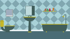 Cartoon Modern colorful Bathroom Animation with space for your text or logo, Stock Footage