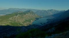 Morning time lapse above Boka Kotor sea Bay, Montenegro Stock Footage