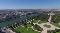 Aerial view of park and river in paris Stock Footage