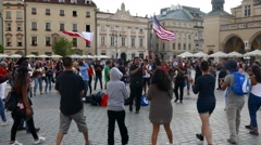 American participant of Krakow world youth day dancing & singing religious songs Stock Footage