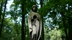 A pan across graves in a Christian cemetery from graves to statue of Saint Mary Stock Footage