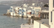 Traditional white houses of the island of Mykonos in Greece Stock Footage