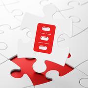 Medicine concept: Pills Blister on puzzle background Stock Illustration