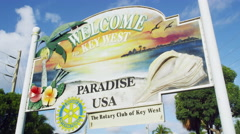 Welcome to Key West Florida Entrance Sign 5K HD Stock Footage