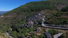 Stone house Classic Portuguese Historic Village Piodao Piodão aerial shot 4k Stock Footage