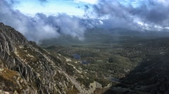 4K timelapse with low clouds and mountain lagoons Stock Footage