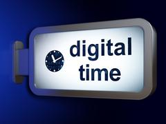Time concept: Digital Time and Clock on billboard background Stock Illustration