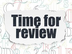 Timeline concept: Time for Review on Torn Paper background Stock Illustration