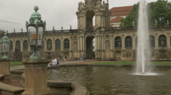 Shot of fountain in Zwinger Palace in Dresden Stock Footage