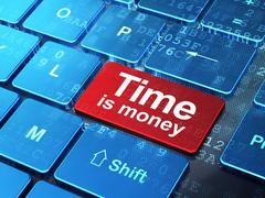 Business concept: Time Is money on computer keyboard background Stock Illustration