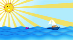 Cartoon Boat sailing slowly in the ocean over sunny blue sky & cute smiling sun Stock Footage