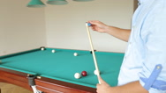 Young man playing billiard (snooker)/Snooker player Stock Footage