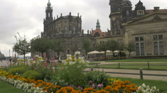 Static shot of Theaterplatz in Dresden Stock Footage