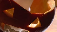 Cover halloween Jack O' Lantern scary lamp with a top part of pumpkin Stock Footage