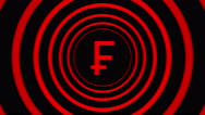 Falling Swiss frank sign surrounded by red circles - visual illusion. Stock Footage