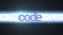 Binary code. A bright beam of light consists of binary code Stock Footage