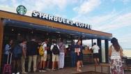 Starbucks Coffee, in Monte-Carlo, Monaco - 4K Video Stock Footage