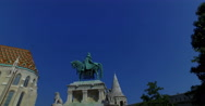 Roman Catholic Matthias Church and king St. Stephen I monument in Fisherman´s Stock Footage