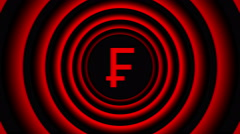 Falling Swiss frank sign surrounded by red blurred circles - visual illusion. Stock Footage