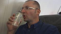 Confident Businessman Drinking Water Hot Summer Day International Flight Travel Stock Footage