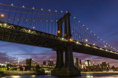 Manhattan Bridge Night Stock Photos