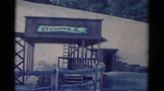 1959: a snow covered building with visible windows or doors CATSKILL GAME FARM Stock Footage