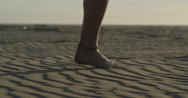 Foot running in  Sand Slow Motion close up desert beach Stock Footage