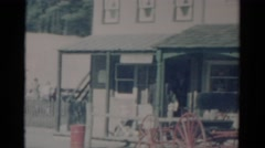 1959: a market area beside a road area is seen CATSKILL GAME FARM, NEW YORK Stock Footage