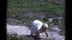 1959: a toddlers is seen crawling CATSKILL GAME FARM, NEW YORK Stock Footage