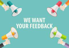 We Want Your Feedback Background. Hand with Megaphone and Speech Stock Illustration
